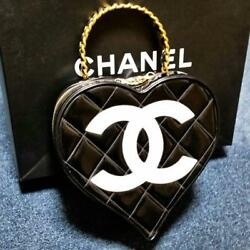 CHANEL Heart Vanity Hand Bag Black Enamel Leather Woman Auth Used Super Rare !!