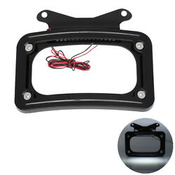 Rear Curved License Plate Frame W/led Light For Harley Touring Street Road Glide