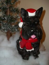 Scottish Terrier Scottie Christmas Cookie Jar NEW Looks Cute Under The Tree!