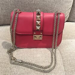 100% Authentic Valentino Rockstud Glam Lock Fuchsia Pink Leather Crossbody Bag