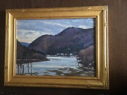 John Loughlin Townsend Dam Vermont 1992 Oil Painting In Paul Goodnow Gold Leaf