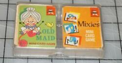 Vintage 1960's Ed-u-cards Mixies And Old Maid Mini Card Games Set W/case