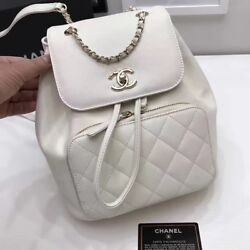CHANEL A93748 Backpack Rucksack Chain Shoulder Bag White Woman Auth Mint Rare