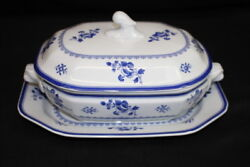 Copeland Spode Blue Gloucester Fine China Oval Covered Vegetable+ Underplate 24
