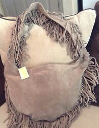 Michael Kors Crescent Hobo in Taupe Suede!  Fringe!