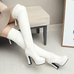 Magic Women's Round Platform Chunky High Heels Over the Knee Boots Riding Boots