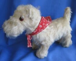 Vintage Mohair Westie Stuffed Toy Dog with Red Bandana 7