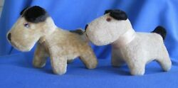 2 Vintage Jack Russell Small Stuffed Dogs Made in Japan Perfect Condition