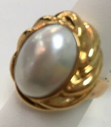 18k Yellow Gold Mabe Pearl 18x12mm Twisted Rope Ring Size 7