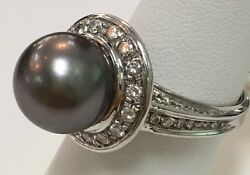 18k White Gold Tahitian Pearl Ring Dia.92ct GVS Made In Italy  7.1 dwt Size 7.5