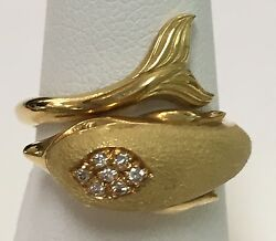18k Yellow Gold Dolphin Ring 7 Diamonds .25ct Size 6 Made In Italy