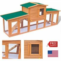 Wooden Chicken Coop Backyard Nest Box Rabbit House Cage Hutch w  Roof 2 Layers