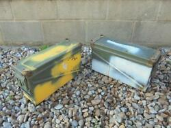 Two Large / Long 40mm Cartridge Ammunition Ammo Box / Metal Tin Us Army Military