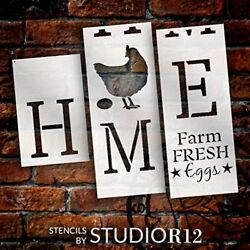 Home Tall Porch 3pc Stencil by StudioR12 DIY 6ft Vertical Leaner Chicken Signs