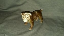 Vintage FRENCH BULLDOG with Big Glass Eyes Porcelain Bisque Dog Figurine  c1920s