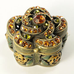 Bejeweled Antique Style Floral Faberge Trinket Box With Crystals In Topaz