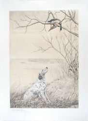 Leon Danchin Original S/n Etching English Setter And Duck In A Tree 56