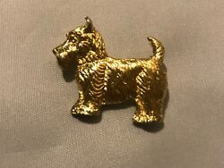 Vintage DOG Terrier Figural BROOCH PIN Gold Tone Costume Jewelry