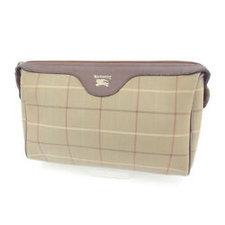 Burberry Clutch bag Second bag Green Brown Woman Authentic Used Y4179