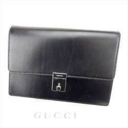 Gucci Clutch bag Black Silver Mens Authentic Used T6773