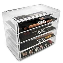 Makeup Organizer Jewelry Cosmetic 4 Drawer Storage Acrylic Large Gift Her New $38.06