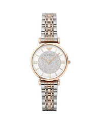 New Emporio Armani Classic Rose Gold White Silver Pave Women#x27;s Watch AR1926 $139.95