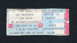 1978 Lou Reed Concert Ticket Stub Park West Chicago Il Street Hassle