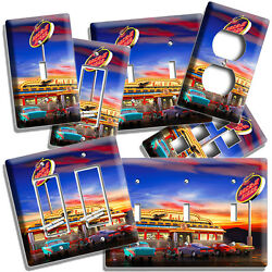 Retro 50and039s Diner Cars Neon Lights Light Switch Outlet Wall Plate Room Home Decor