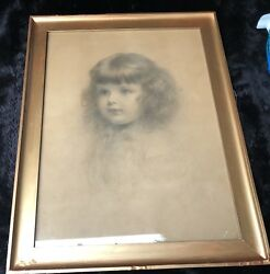 Charles Akers Usa 1835-1906 Head Of An Ideal Child Crayon Portrait On Paper