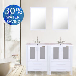White Bathroom Vanity 48 Rectangle Ceramic Sink With 2 Handle Faucet Mirror