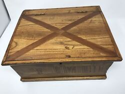 Antique Wooden Glove Box Swan Hand Painted Jewelry Box 8.5x4x4.25