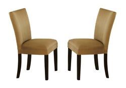 Contemporary Style Gold Parson Dining Room Chairs 6pc Set Cappuccino Wood Legs
