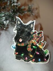 Scottish Terrier Scottie Scotty Christmas Card NEW Embossed Carol's Rose Garden