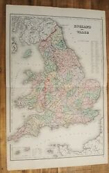 Antique Colored Map- England And Wales - The National Atlas 1893