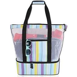 Mesh Beach Tote Bag With Zipper Top And Insulated Picnic Cooler Free Waterproof