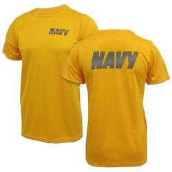 Authentic Gi Us Navy Originals Gold Pt Shirt With Navy Reflective Front And Back