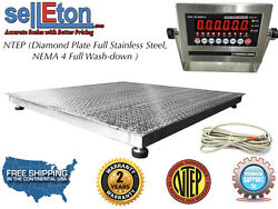 Ntep 60 X 60 5and039 X 5and039 Floor Scale Fixed Top Stainless Steel Washdown 2000 Lbs