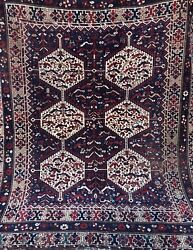 An Attractive Antique Square Size Bird Kamseh Tribal Rug