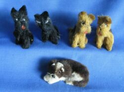 5 Vintage Miniature Terrier Dogs 2 Inches Tall