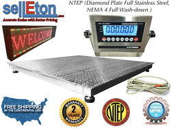 Ntep 48 X 48 4' X 4' Floor Scale Fixed Top Stainless Steel Washdown 5000 Lbs