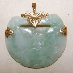 Vintage Ming's 2.45 Chinese 14k Gold And Green Jadeite Jade Brooch Pendant 31g