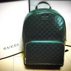 GUCCI Bag Backpack Rucksack Green Signature Leather GG Purse Unisex Auth Rare