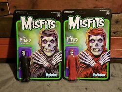 The Misfits Set Of Two Crimson Red And Black Fiend Reaction Figure Super7 Mint
