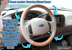 01-03 Ford F150 King Ranch Supercrew - Leather Wrap Steering Wheel Cover 4-seam