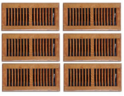 6 Pack 4 X 10 In. Oak Wood Floor Diffuser Grill Register Vent Cover Heating Ac