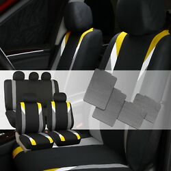 Premium Modernistic Yellow Black Auto Car Seat Covers With All Weather Floor Mat