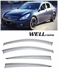 WellVisors Side Window Visors W Chrome Trim For 07-15 Infiniti G25 G35 G37 Q40