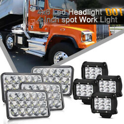 4X 4x6inch CREE Led Headlight HL Seald + 4'' Work Lights for Freightliner Truck