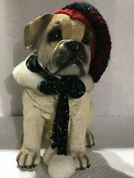 Large BullDog Puppy with Hat & Scarf Christmas Figurine Statue 8 inch