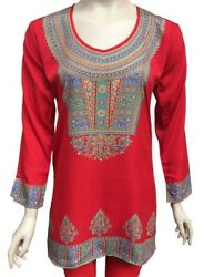 Printed Design Long Sleeves women Crape Kurti Tunic tops - 1909-L